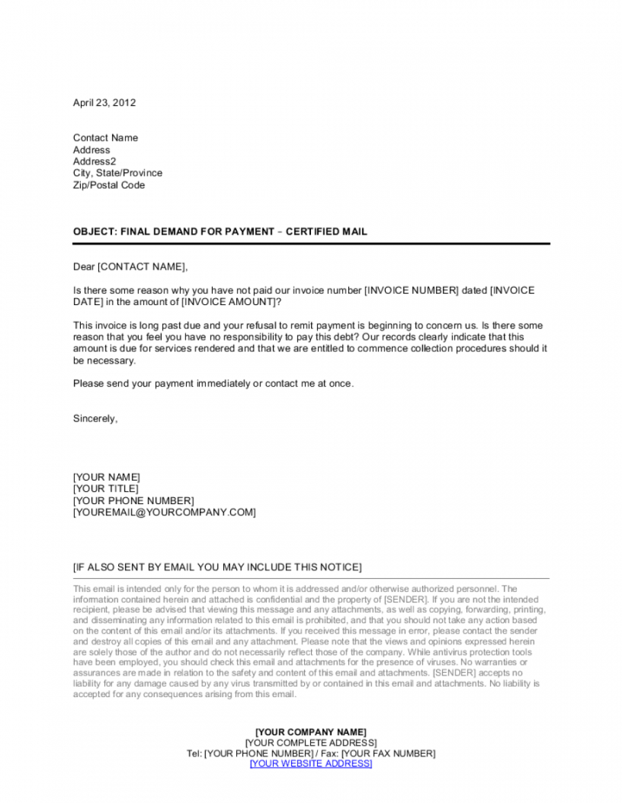editable final demand for payment letter template  by businessinabox™ debt collection demand letter sample