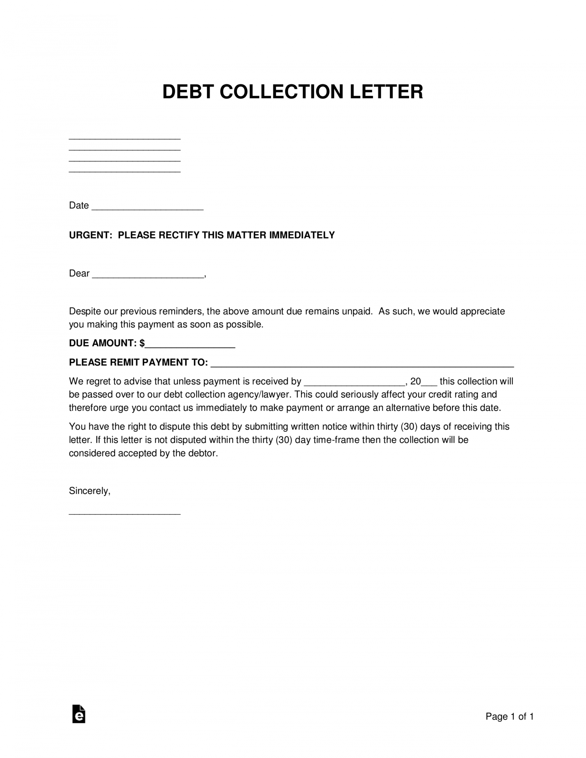 editable free debt collections letter template  sample  word  pdf debt collection demand letter doc