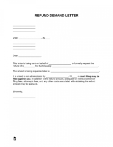 editable free refund demand letter  sample  word  pdf  eforms demand letter for refund of payment