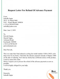 editable request letter for refund of advance payment01  best demand letter for refund of payment