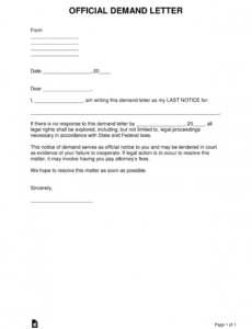 free demand letter templates  all types with samples  word formal demand letter for payment excel