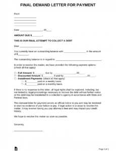 free final demand letter for payment  pdf  word  eforms demand letter to collect sum of money pdf