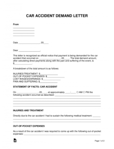 free free car accident demand letter template  sample  pdf demand letter to insurance company for auto accident doc