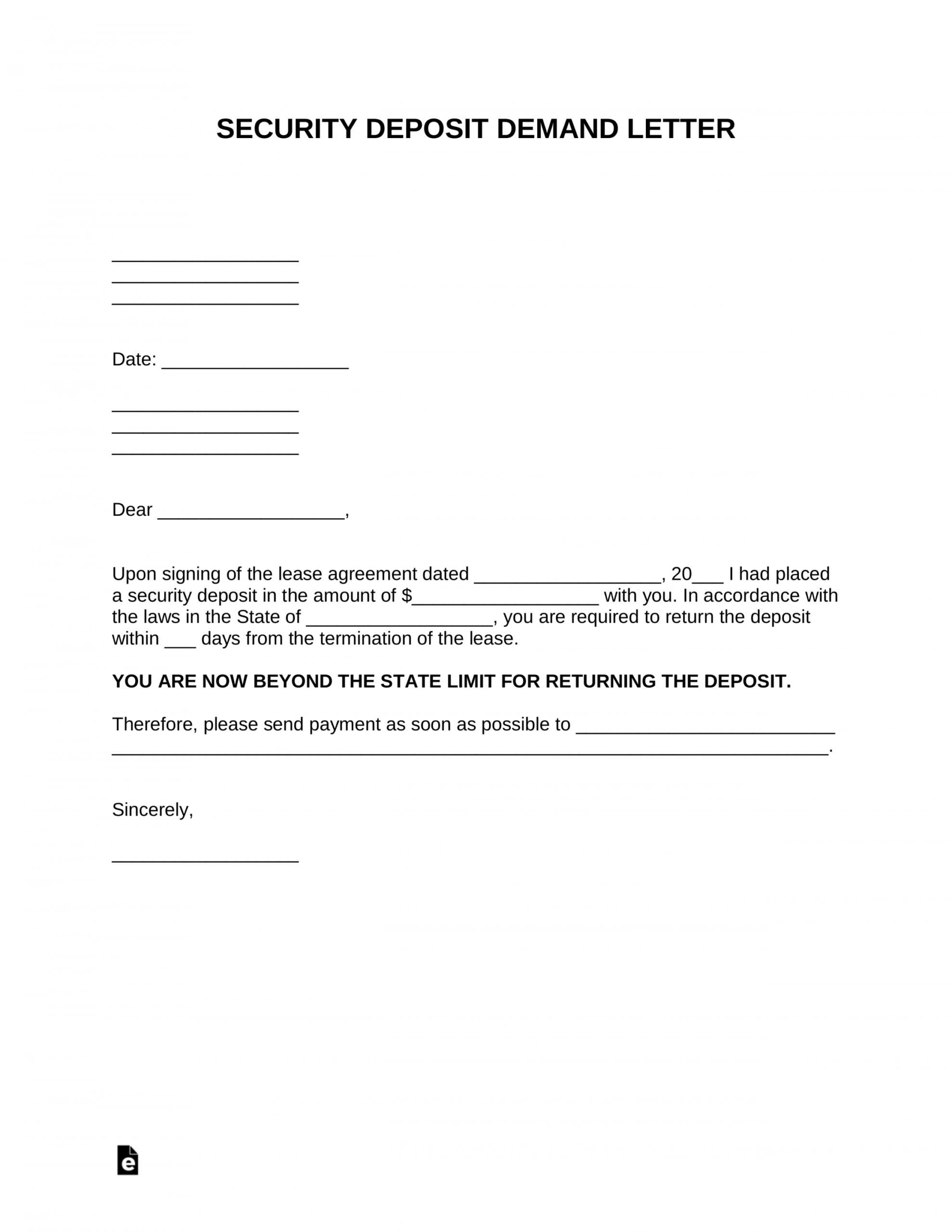 free free security deposit demand letter template  pdf  word security deposit demand letter excel
