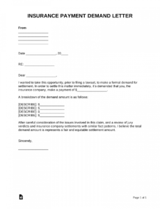 free insurance company demand letter  pdf  word  eforms auto property damage demand letter word