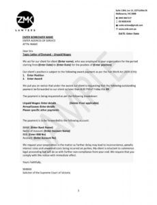 letter of demand  unpaid wages demand letter for unpaid wages excel