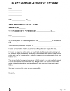printable 30day demand letter for payment  eforms  free fillable forms demand letter sample for money owed excel