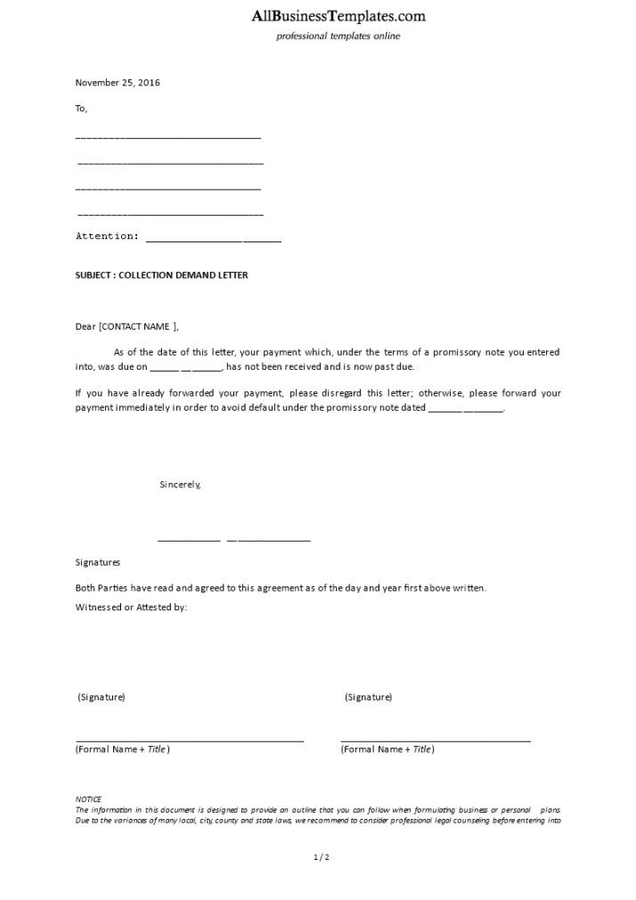 printable collection demand letter  download this debt collection debt collection demand letter excel