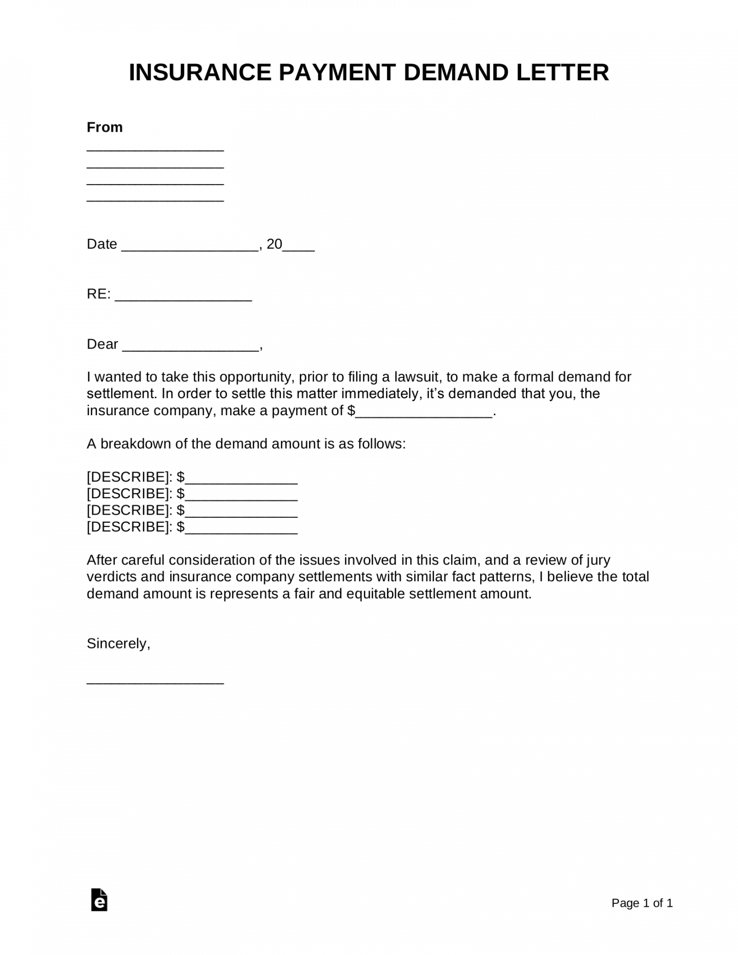 sample free insurance company demand letter  pdf  word  eforms demand letter to insurance company for auto accident example
