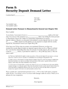 sample security deposit demand letter massachusetts  fill online security deposit demand letter doc