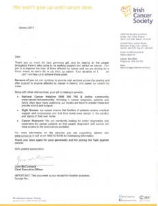 editable campaign gallery irish cancer society thank you letter and cancer fundraising letter doc