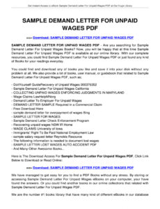 editable sample demand letter for unpaid wages california  fill unpaid wages demand letter sample
