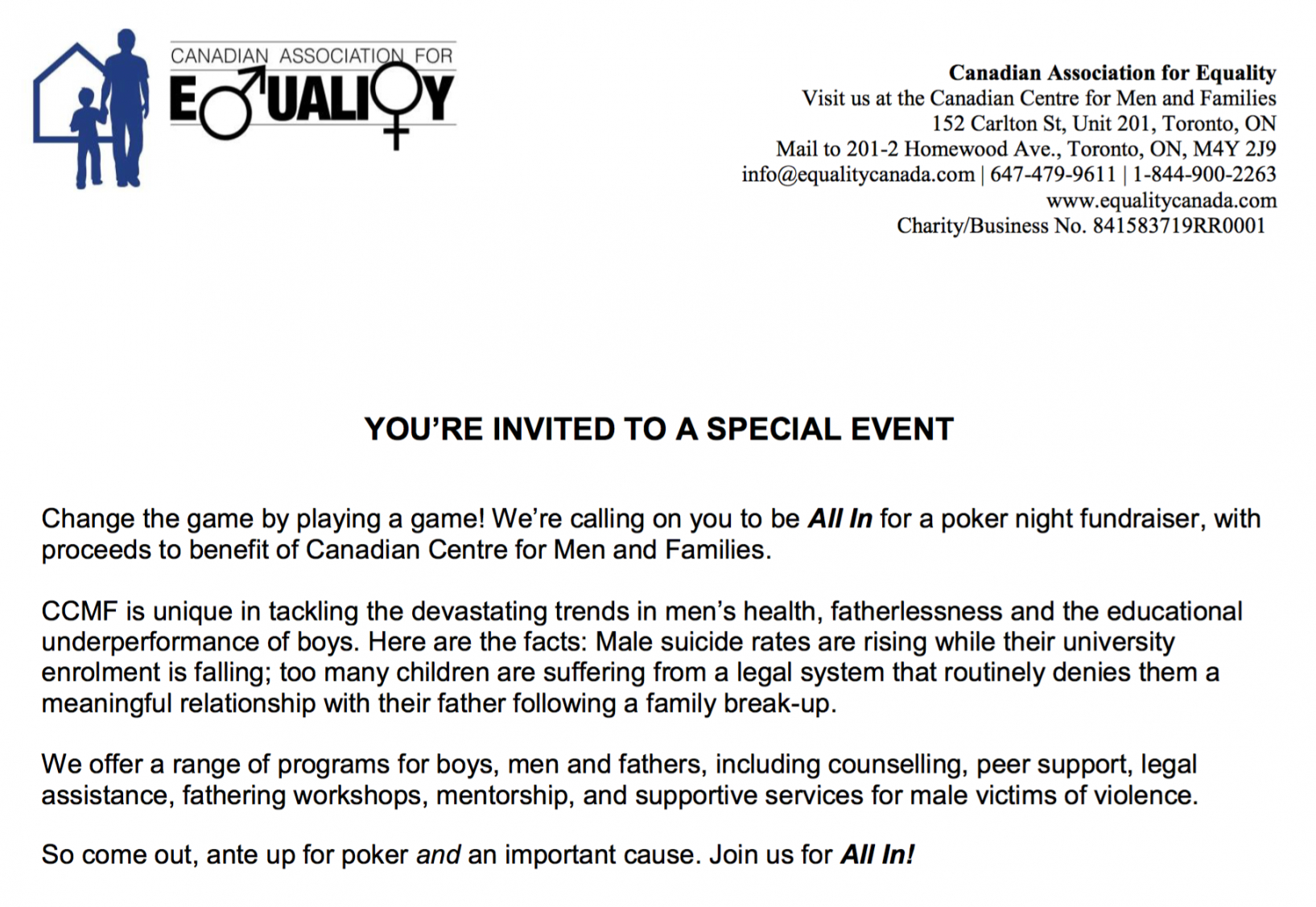 free sampleinvitationletter  canadian centre for men and families fundraising event invitation letter example