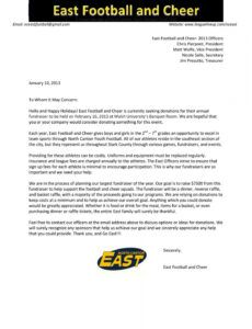 sample east cheerleading donation letter  29  donation letter youth fundraising letter excel