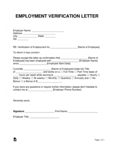 best loss of employment verification letter  example