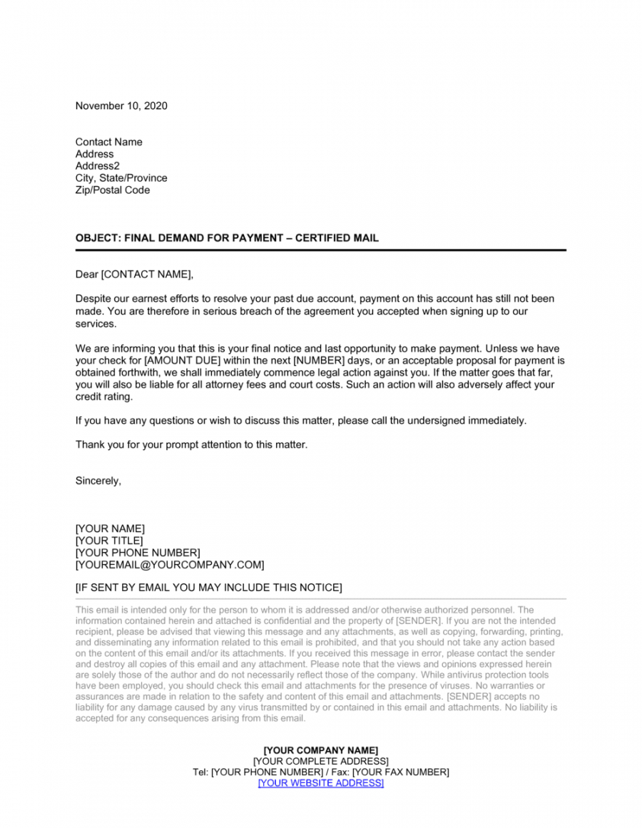 collections letter template final notice word example