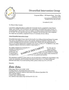 community service hours verification letter  sample