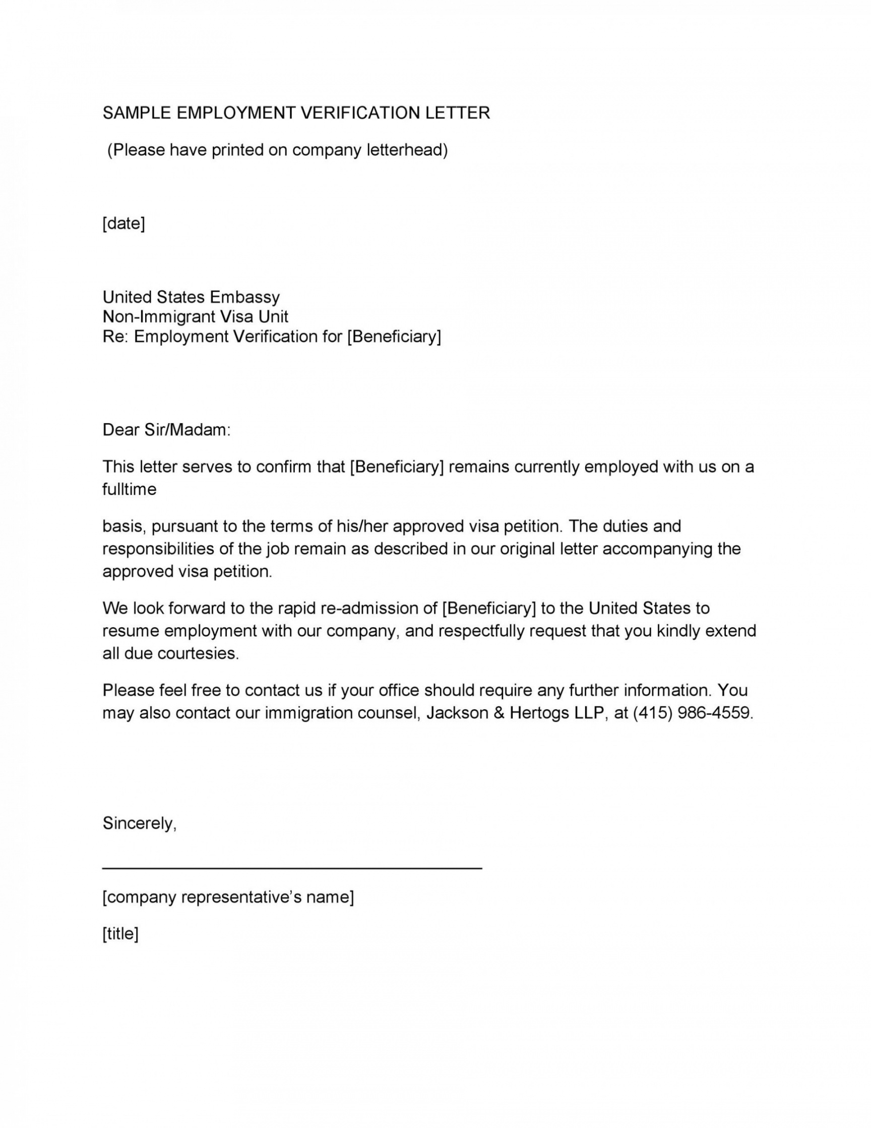 costum employment verification letter for immigration  example
