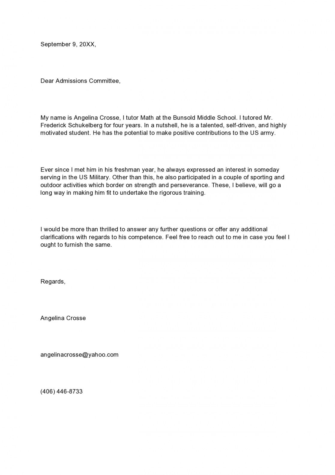 costum military letter of recommendation template  example