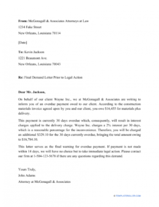 editable collections letter from attorney word sample