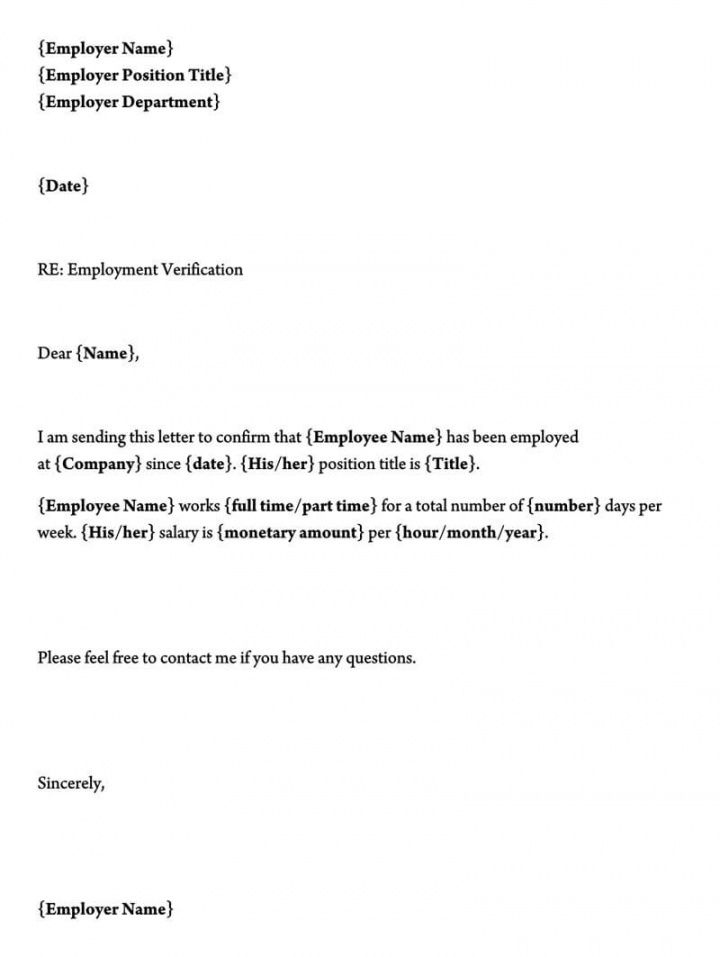 editable letter of employment verification template excel sample