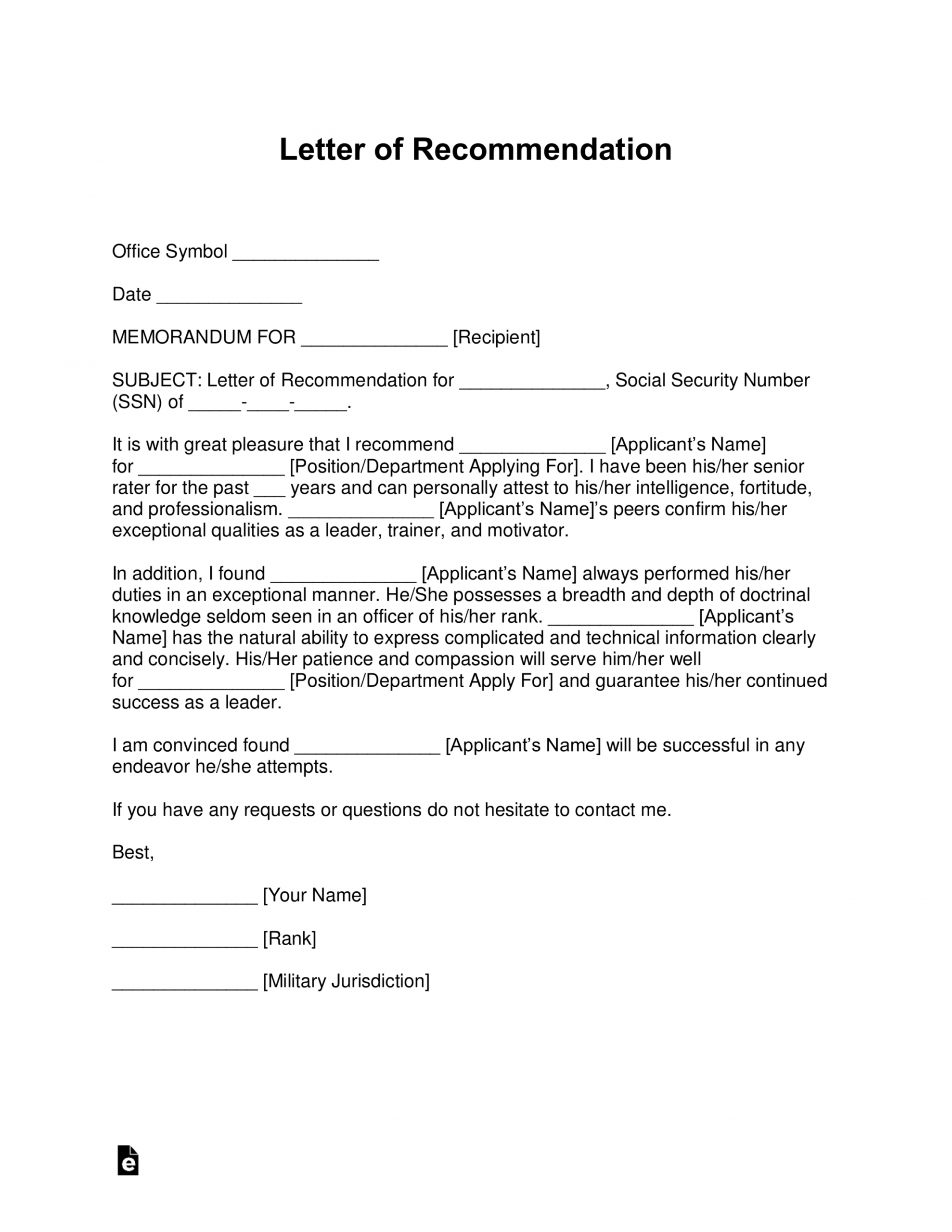 editable military letter of recommendation template pdf sample