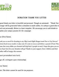 editable thank you letter for food donation  sample
