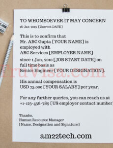 free employment verification letter for green card word example