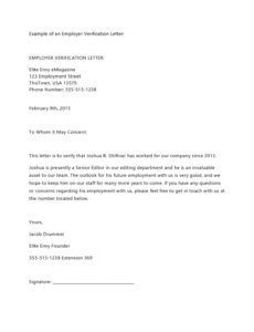 free employment verification letter template word sample