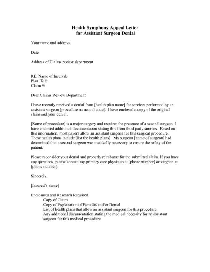 free letter of appeal for insurance claim excel sample