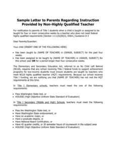 free letter to parents from teacher template doc sample