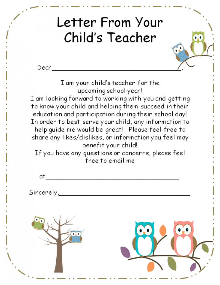 free letter to parents from teacher template excel example