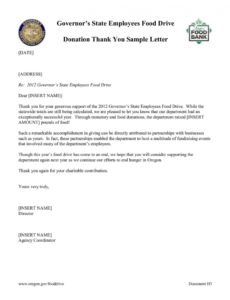 free thank you letter for food donation excel
