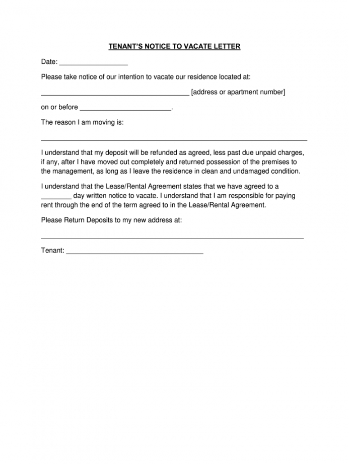landlord notice to vacate apartment letter  example