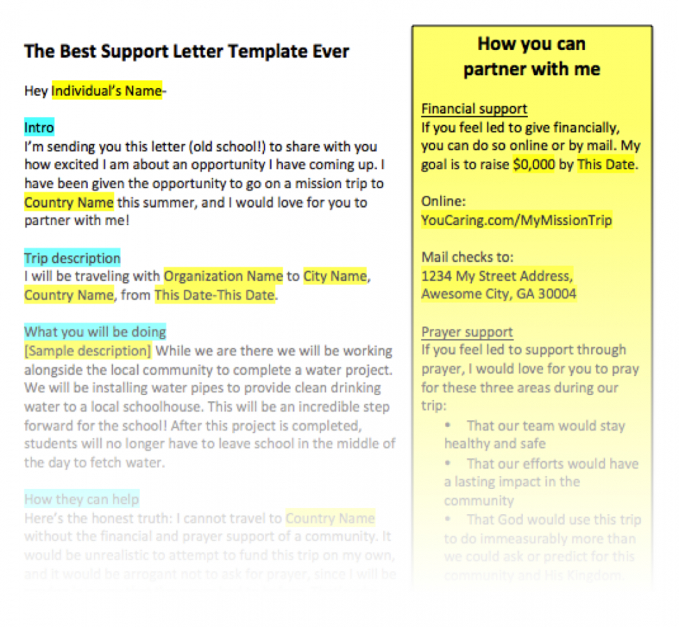 mission trip support letter template excel example