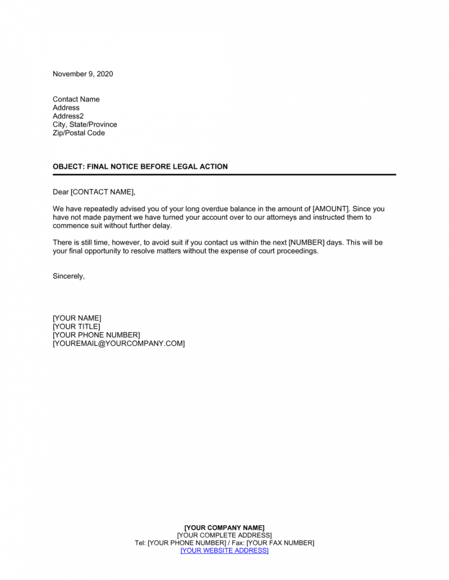 printable collections letter template final notice excel example