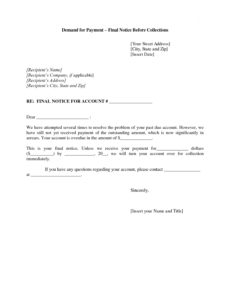 printable collections letter template final notice  sample