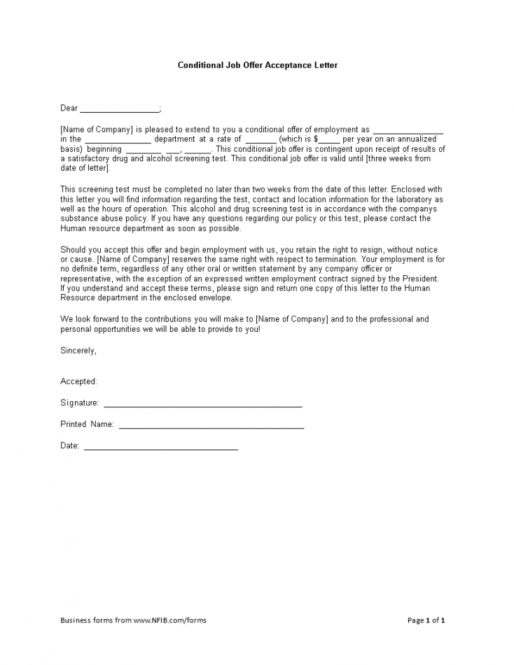 printable conditional offer of employment letter excel