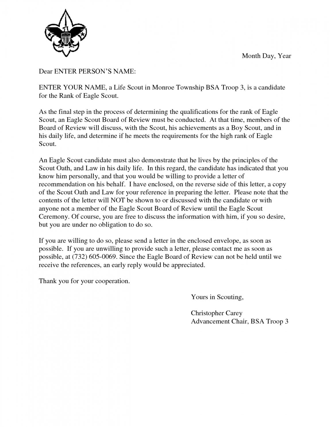 printable eagle scout recommendation letter template word sample