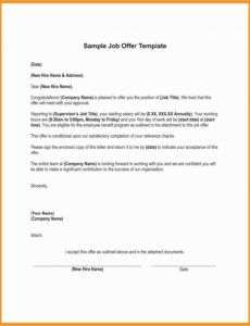 printable offer of employment letter template excel sample