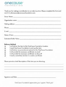 printable silent auction donations letter excel example