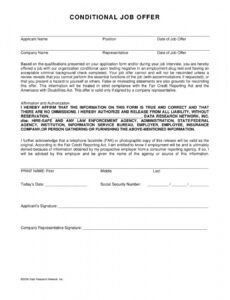 professional conditional offer of employment letter doc example