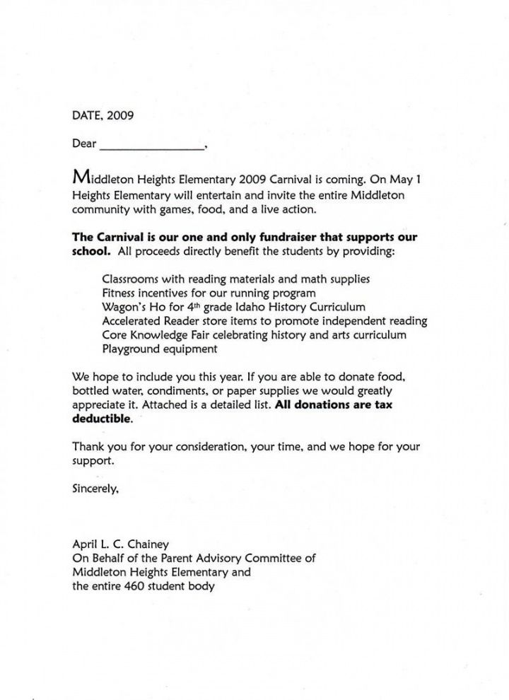 professional donation request letter for school event excel sample