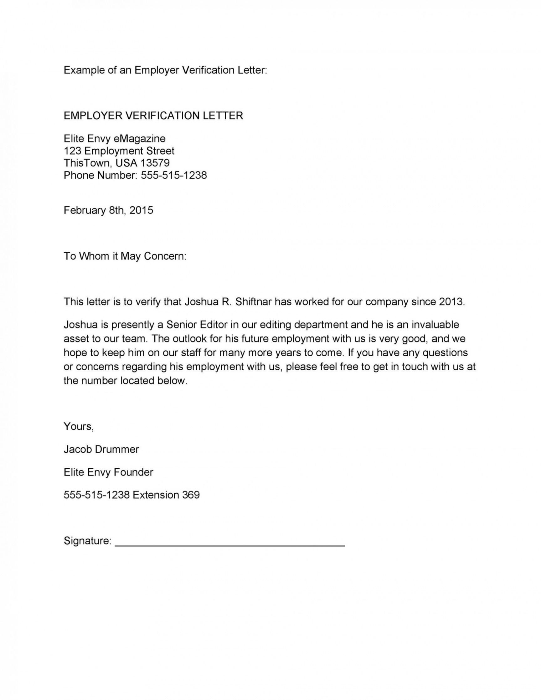 professional employment verification letter template  example