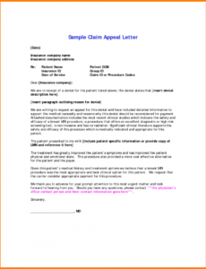 professional letter of appeal for insurance claim pdf example