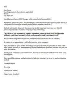 Best Fundraising Request Letter Template Word Sample