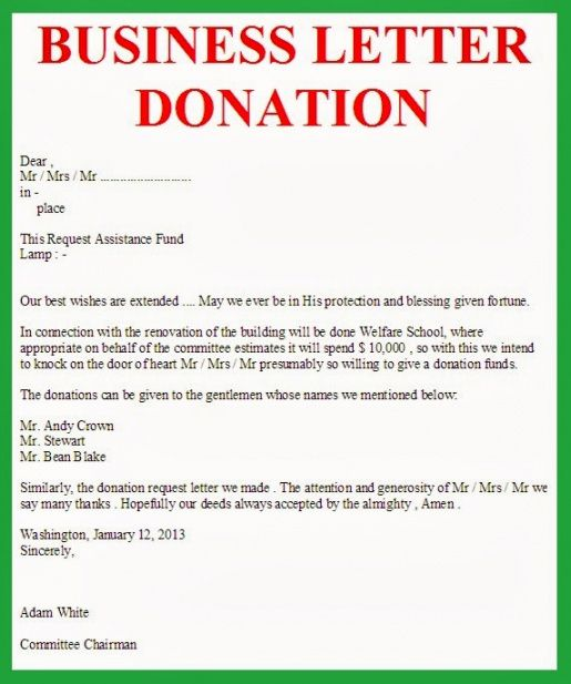 Best Fundraising Request Letter Template Word