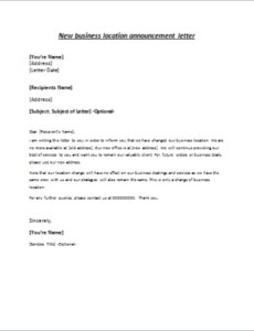 Best Personal Change Of Address Letter Template  Example