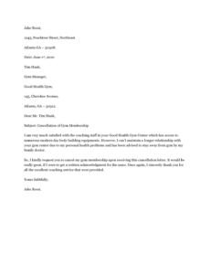 Costum Gym Membership Cancellation Letter Template Excel Example
