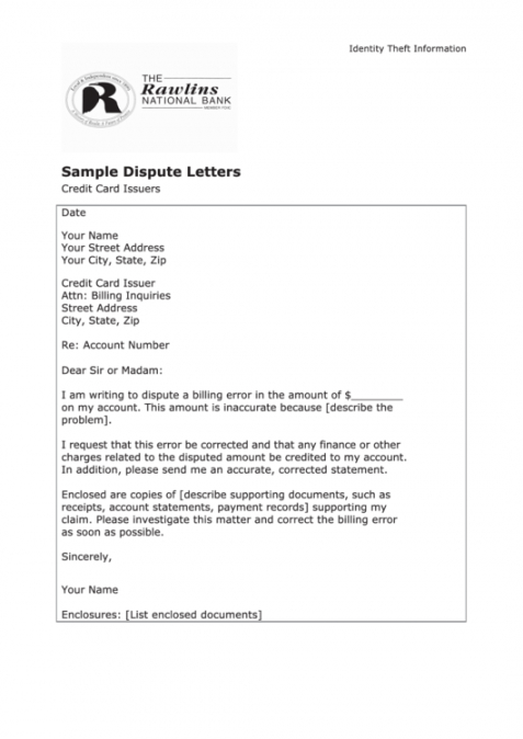 Editable Credit Reporting Agency Dispute Letter Template Doc Example